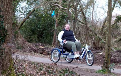 Our Relaxino, semi-recumbent trike being used in Moors Valley.