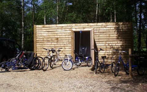 Cycle storage and cycles at Moors Valley Country Park and Forest