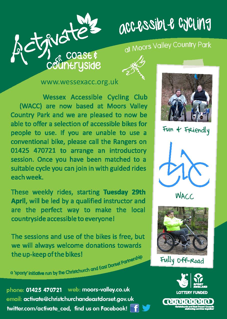 Poster advertising Accessible Cycling at Moors Valley Country Park and Forest