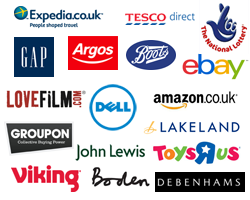 Logos of some of the retails that will make a donation to us when you shop online with them.